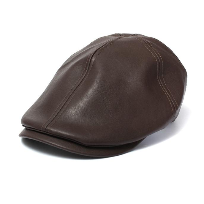 Mens Women Vintage Leather Beret Cap Peaked Hat Newsboy Sunscreen - us809 2ee5a8fa8a