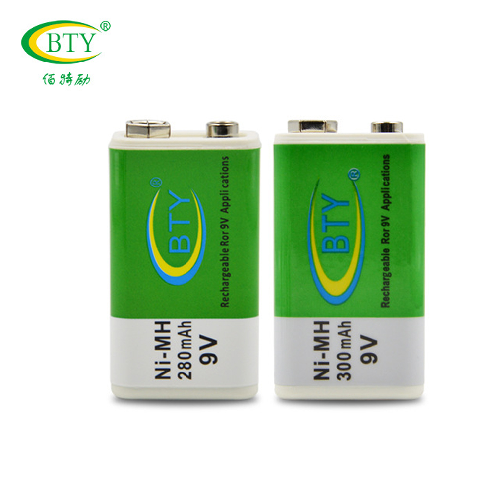 2PCS BTY 9V 280mah Batteries NI-MH Rechargeable Battery 6F22 6LR61 For Wireless microphone Smoke alarms RC toys High quality
