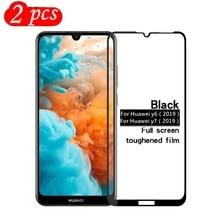 Szkło hartowane 2 sztuki dla Huawei Y6 2019 pełna pokrywa 9H przeciwwybuchowa ochronna folia ochronna na ekran dla Huawei Y7 2019