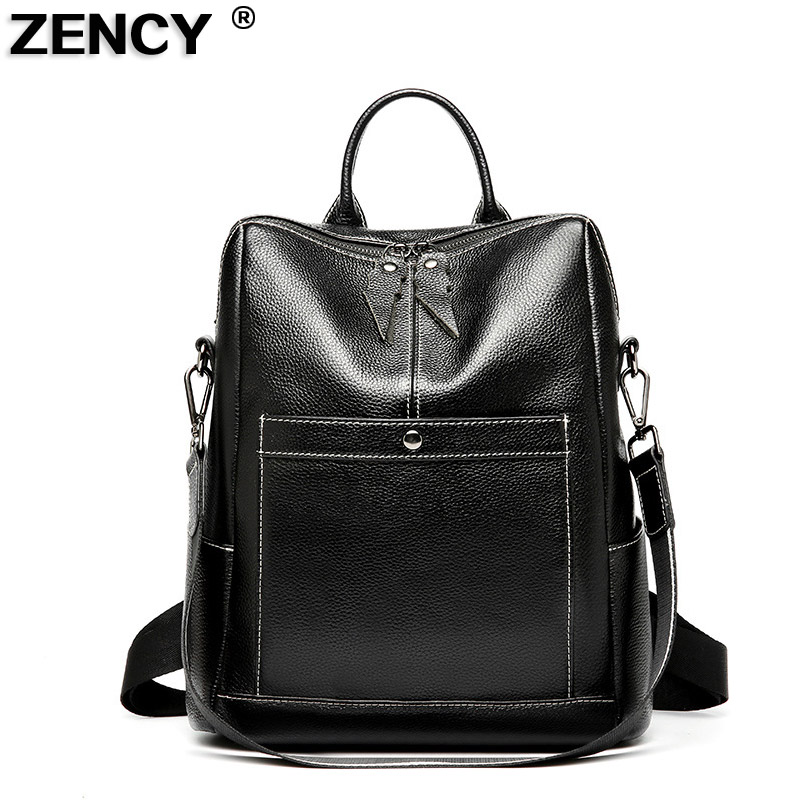 ZENCY 2018 Backpack 100% Genuine Leather Backpacks Natural Real First Layer Cow Leather Top Layer Cowhide Women Shoulder Bag цена 2017