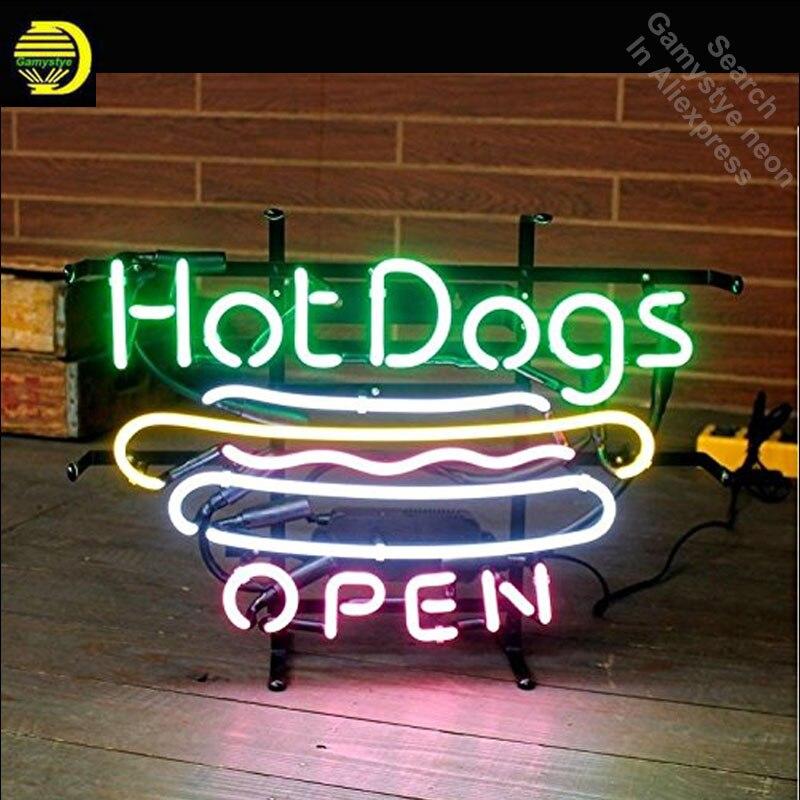 Enseigne au néon pour Hot-Dogs Logo ouvert Tube au néon vintage signe lumineux artisanat lampe magasin affiche Tube verre néon lampe de poche signe