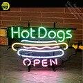 Neon Zeichen für Hot Dogs Offenen Logo Neon Rohr vintage Helle zeichen handwerk Lampe Laden Displays Rohr Glas Neon Taschenlampe zeichen-in Neonröhren & Röhren aus Licht & Beleuchtung bei