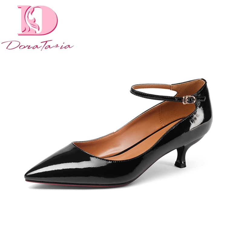 DoraTasia Brand Design Genuine Leather Thin Med Heels Buckle Strap Solid Shoes Woman Fashion Spring Pumps Big Size 33-43
