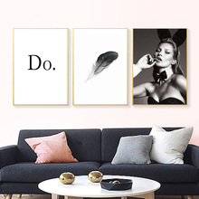 Black And White Canvas Painting Poster Quotes Posters Prints Feather Wall Paintings For Bedrooms Modern Picture