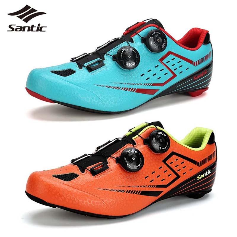 Сантич 2018 по велоспорту на шоссе обувь мужчины Сверхлегкий углеродного волокна гоночный велосипед обувь самоконтрящаяся обувь Дорожный велосипед шорты ciclismo zapatillas Размер