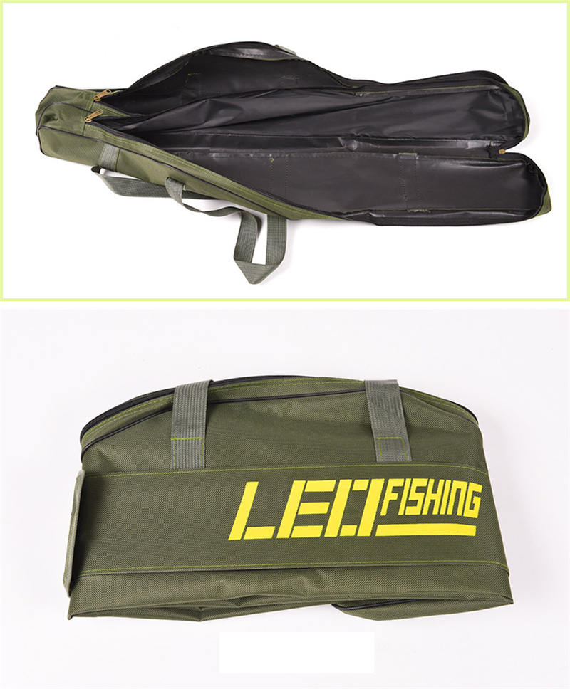 Double Layer Canvas Fishing Bag 100cm 150cm Portable Folding Fishing Rod Bag Fishing Tackle Carrier Bag (7)