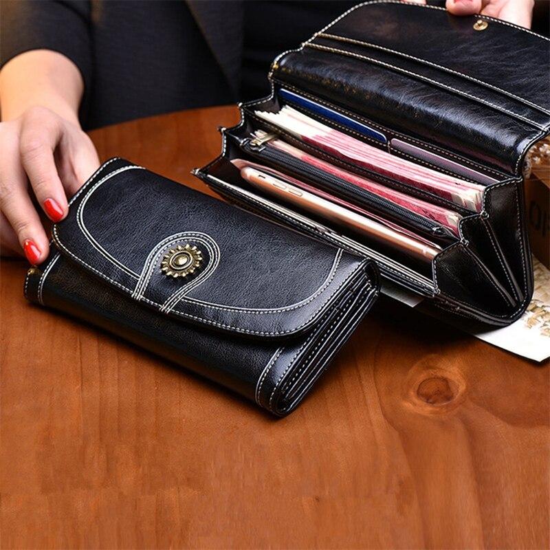 Genuine Leather Women Wallets 2017 Fashion Retro Long Women Clutch Wallets Ms. Clutch Purses~Large-Multi-Function Phone Bag