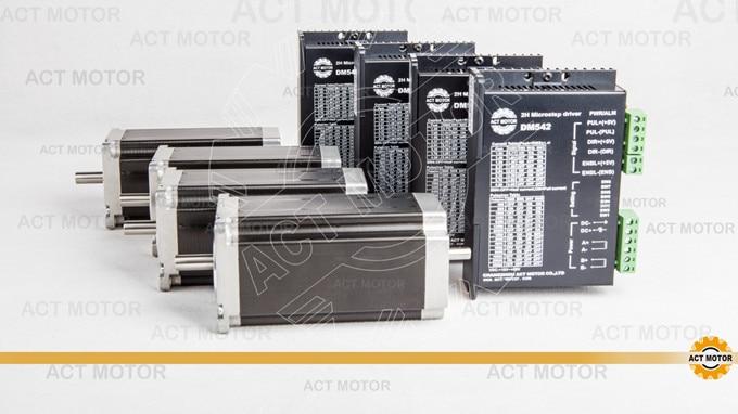 ACT Motor 4PCS Nema23 Stepper Motor 23HS2430B Dual Shaft 4-Lead 425oz-in 112mm 3A+4PCS Driver DM542 4.2A 50V 128Micro Cut Laser