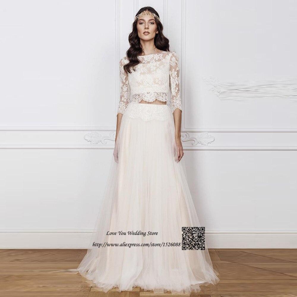 Bohemian 2 piece wedding dress lace a line long sleeve Boho wedding dress a line