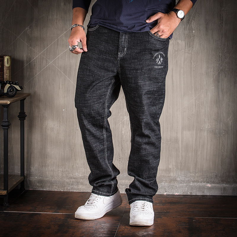 2018 Large Plus Size 30-40 42 44 46 48 Jeans Men Loose Elastic Straight Pants Business Style Jeans Hommes Casual Denim Trousers