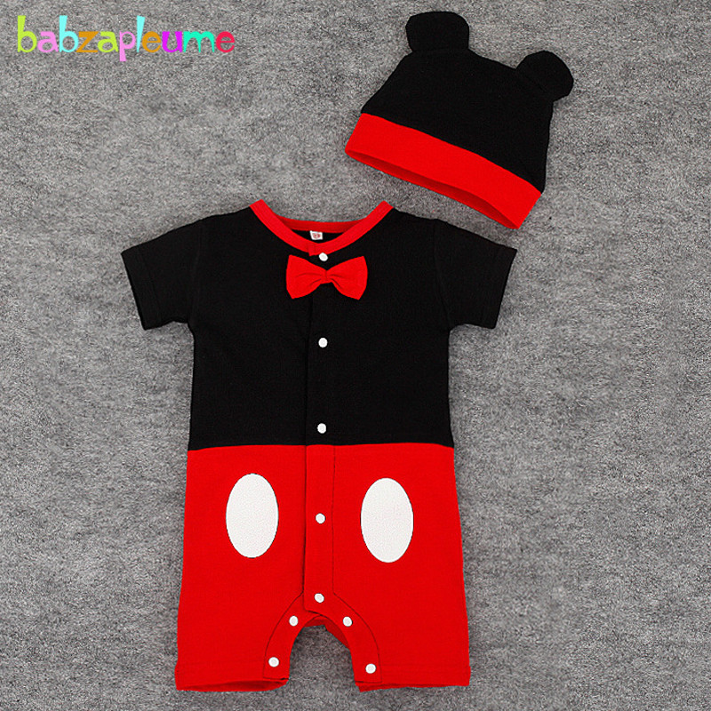 babzapleume Summer Newborn Rompers For Baby Boys Girls Clothes Cartoon Cute Jumpsuit Hats Infant Clothing Sets