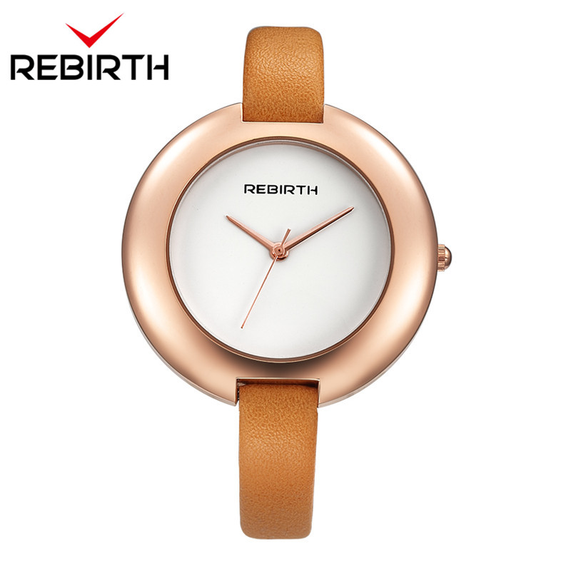 REBIRTH Top Brand Luxury Women Watch Casual Simple Ladies Bracelet Quartz Clock Female Leather Strap Wristwatch Reloj Mujer 2018