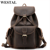 WESTAL men backpack genuine leather business bag schoolbag fashion men's casual daypacks Leather man bags new design 8371