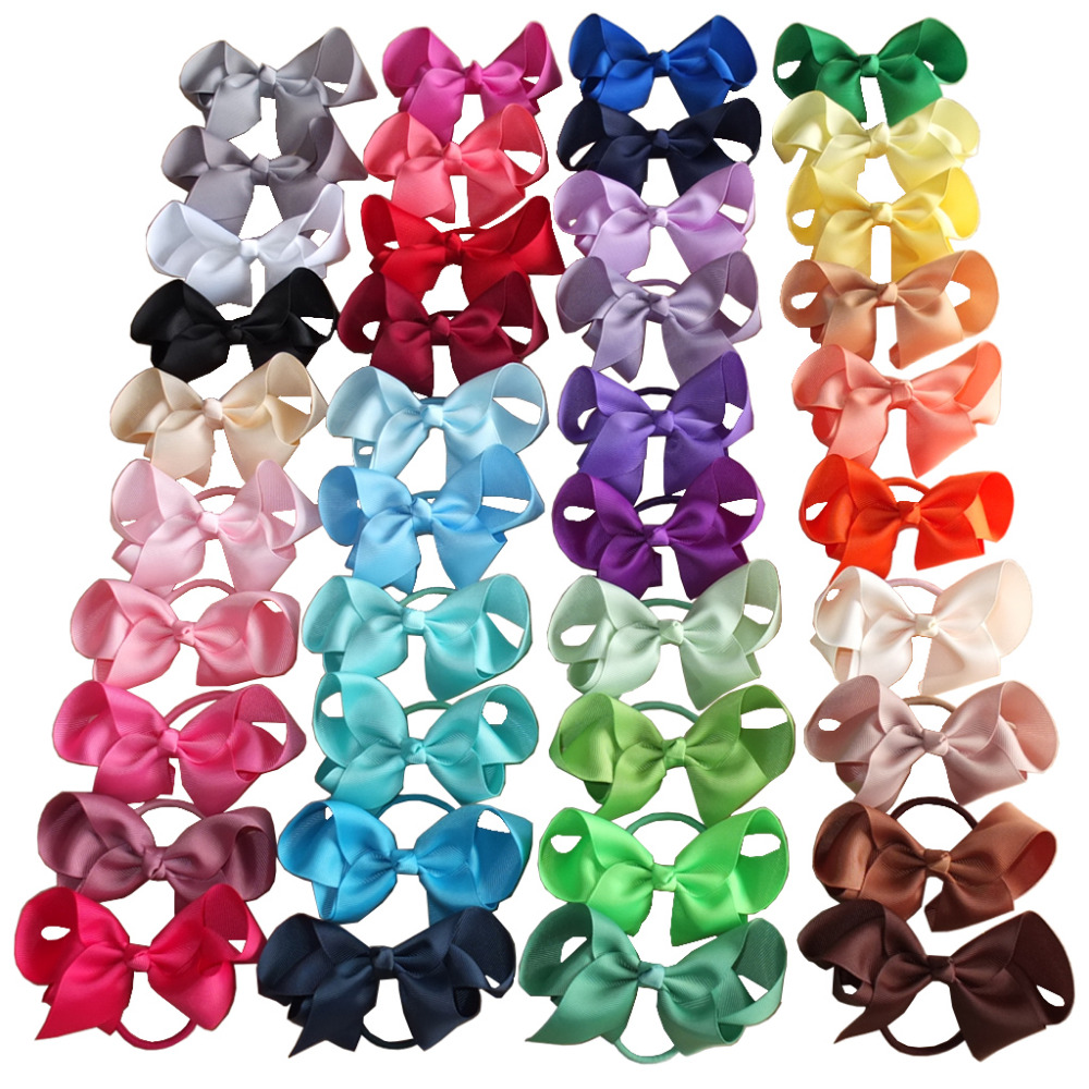 6 pcs 4 inch Hair bow WITH Elastic Bands Kids Girl Ponytail Hair Holder Hair accessories Elastic Loop Bobble School Dancing bows free shipping 4 4 size 430c pernambuco cello bow high quality ebony frog with shield pattern white hair violin parts accessories