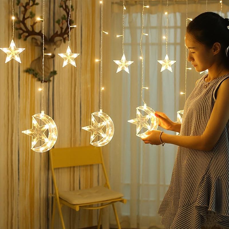 EU Plug/battery powered led light star moon lamp Holiday lights Christmas room garden decoration Beautiful garland fairy light