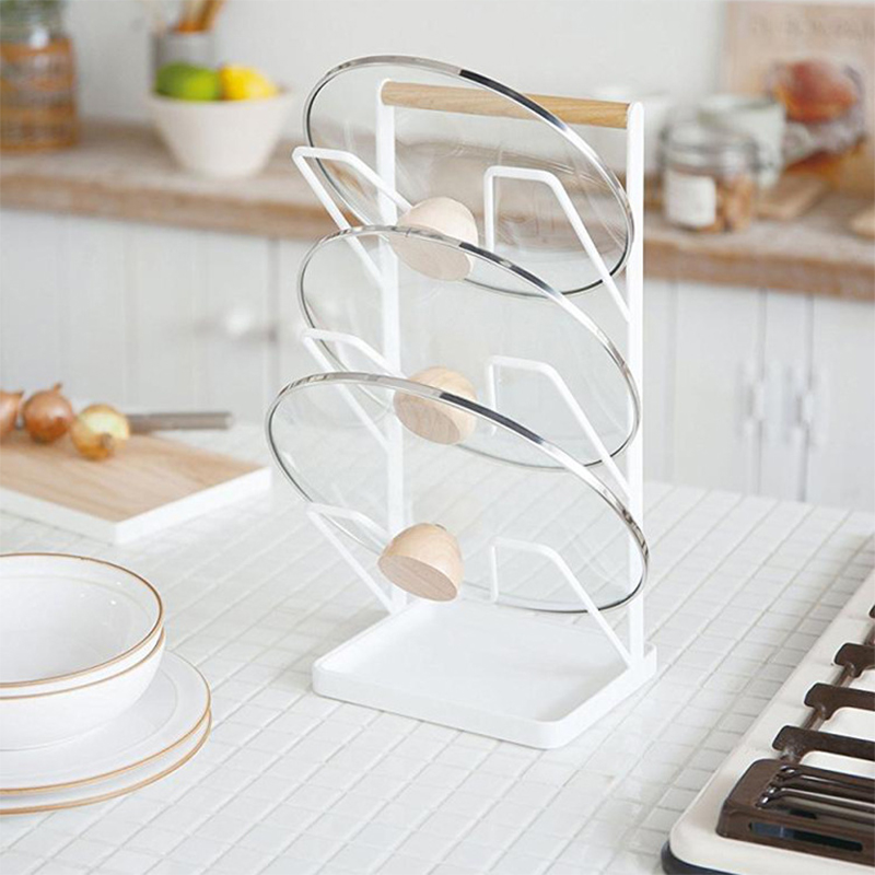 Kitchen Shelf Pan Rack Cutting Board Holder Storage Pot Lid Organizer Stands Tapas Cover Stand Stainless Steel Dish Rack