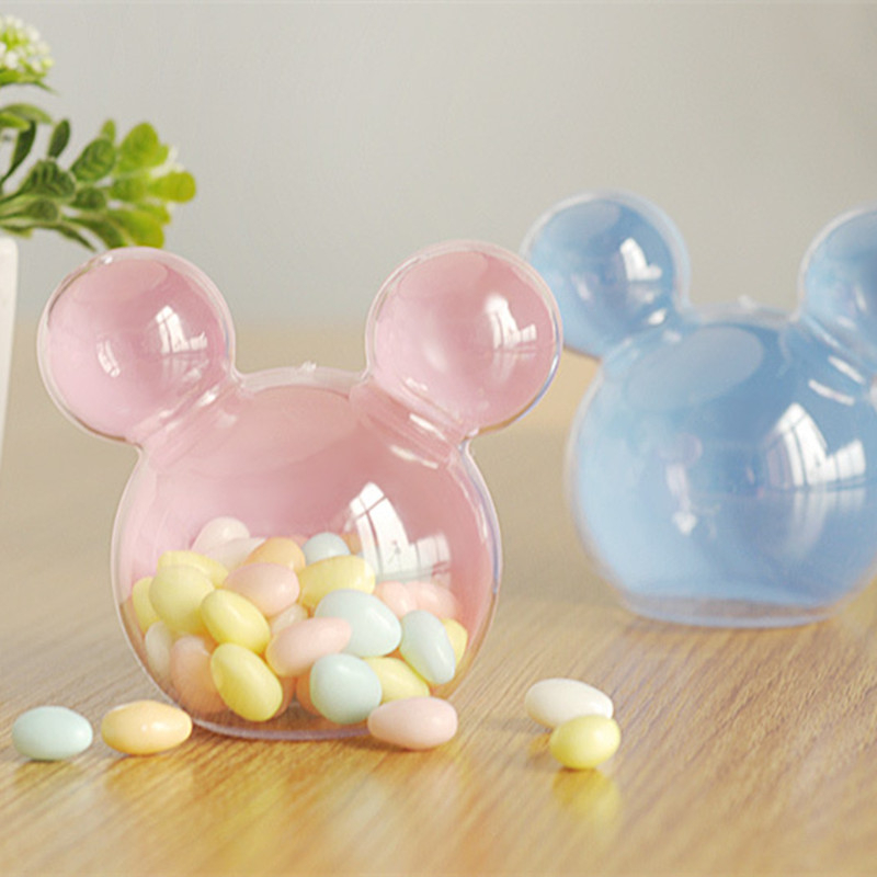 20pcs Plastic Mickey Head Mouse Candy Box Wedding Gifts Box Candy Package Box Baby Wedding Bonbonniere DIY Event Party Supplies