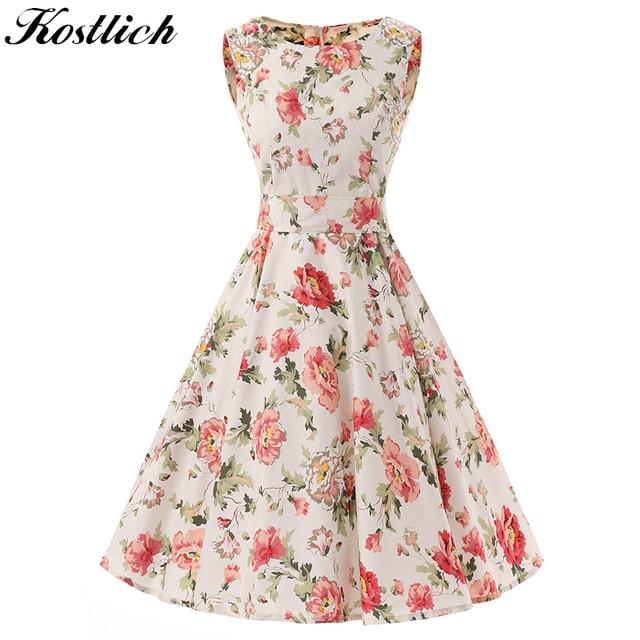 6b9cefe84f1d Kostlich Elegant Print Flower Summer Dress Women 2018 Big Swing 50s Vintage Dress  Cotton Sleeveless Rockabilly Dresses Sundress