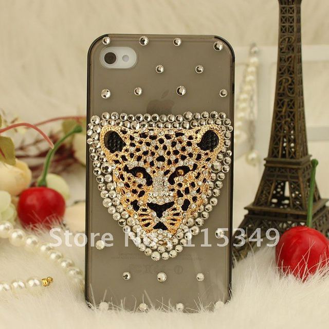 Free shipping/New Fashion Bling Crystal Rhinestone Hard Cover Case for iphone4/4s leopard  fashion hot Sell Christmas gift