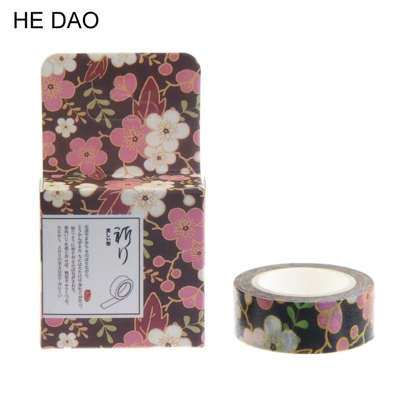 1 Pc / Pack Decorative Scotch Cinta Japanese Violet Flower Washi Tape Paper Diy 15mm * 10m Kawaii Decorative Tapes Stickers flower violet w edp
