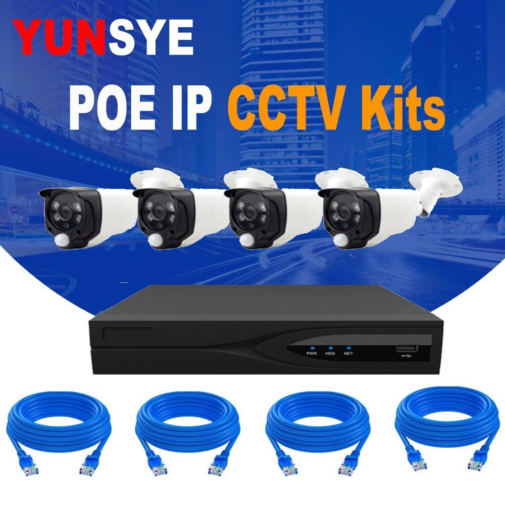 YUNSYE 1080 P POE IP caméra intérieure extérieure Kit de sécurité 4CH 1080 P POE NVR KIT IP CCTV POE caméra vidéo Surveillance système domestique