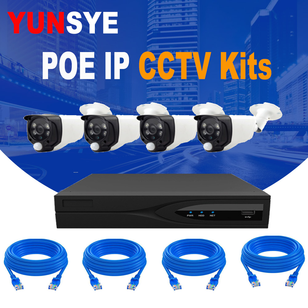 YUNSYE 1080P POE IP Camera Indoor Outdoor Security Kit 4CH NVR KIT CCTV Video Surveillance Home System