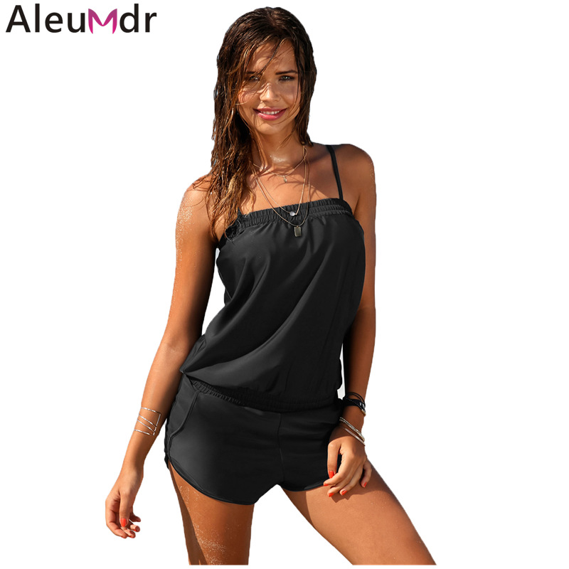 2f65f9a06b35 Aleumdr Women Beachwear Black Casual Spaghetti Strap Romper Style One piece  Padded Swimsuit Vintage Shorts Bathing Suit LC410787-in Body Suits from  Sports ...