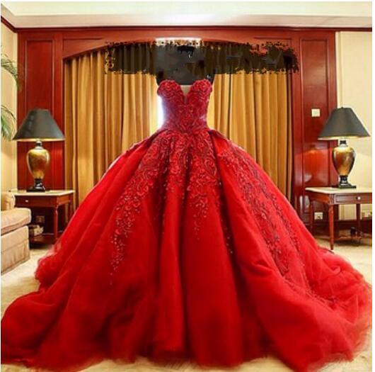 Luxo Vermelho Do Vestido de Casamento Custom Made Sexy de Trem Sweetheart Tribunal Organza Rendas de Luxo Vestido de Casamento Vermelho do baile de Finalistas vestido de Baile Quinceanera