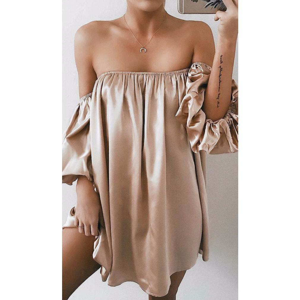 Summer Dress Women Sexy Strapless Off Shoulder Loose Casual Elegant Evening Party Holiday Mini Dress Sundress Fashion Clothing