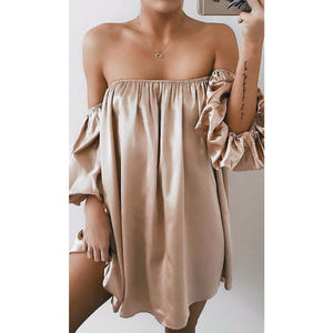 Summer Sexy Dress for Womens Strapless Off Shoulder Casual Elegant Evening Party Holiday Mini Dress Sundress Cover UP