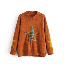 Europe Style Five-pointed Star Embroidery Women Sweater 2017 Autumn New Arrival Casual Loose Long Sleeve Femme Pullovers Tops