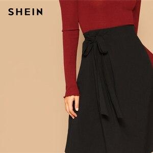 Image 5 - SHEIN Black Knot Side Solid High Waist A Line Knee Length Skirt Women Office Lady Spring 2019 Summer Elegant Workwear Skirts