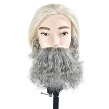 100% Human Hair MaleTraining Head With Beard Hair Mannequin Head Hairdressing Dummy Practice Training Mannequin Doll Head(China)