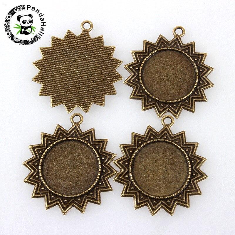 10pcs Antique Bronze Tibetan Style Alloy Pendant Cabochon Bezel Sets DIY Charms