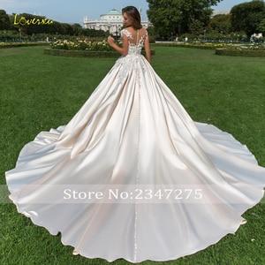 Image 2 - Loverxu 半袖夜会服のウェディングドレス 2020 セクシーなアップリケビーズ花チャペルの列車のサテンヴィンテージブライダルドレス