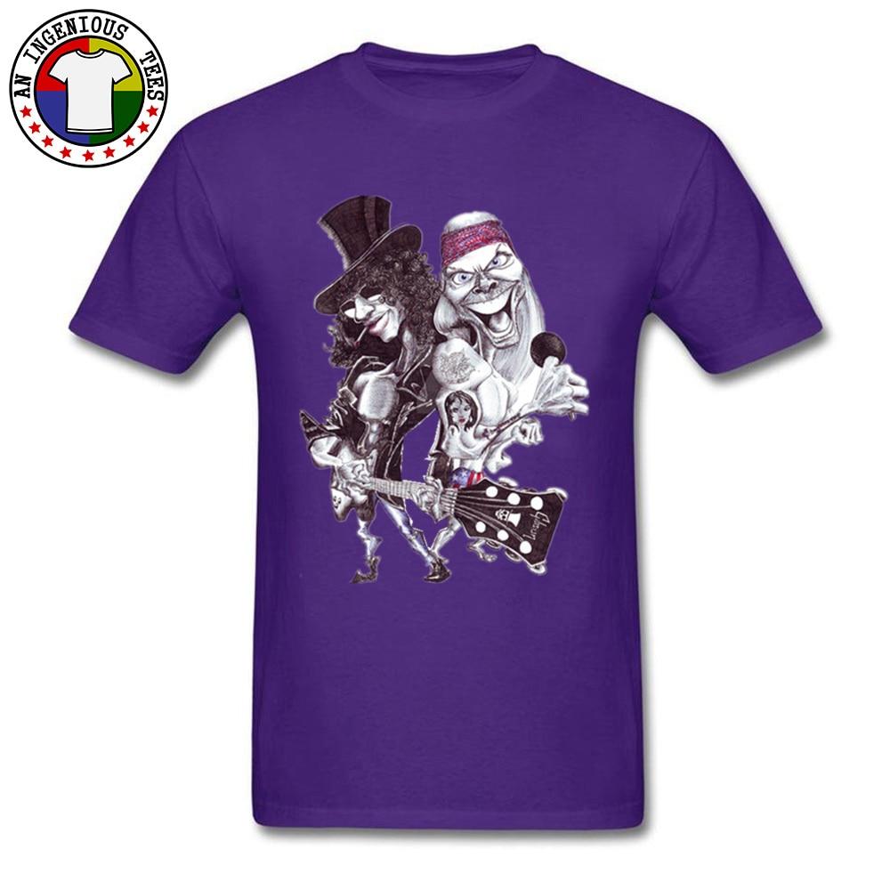 On Sale Man T Shirts O Neck Short Sleeve Pure Cotton Guns N Rose Cartoon Tops Shirts comfortable Tshirts Wholesale Guns N Rose Cartoon purple
