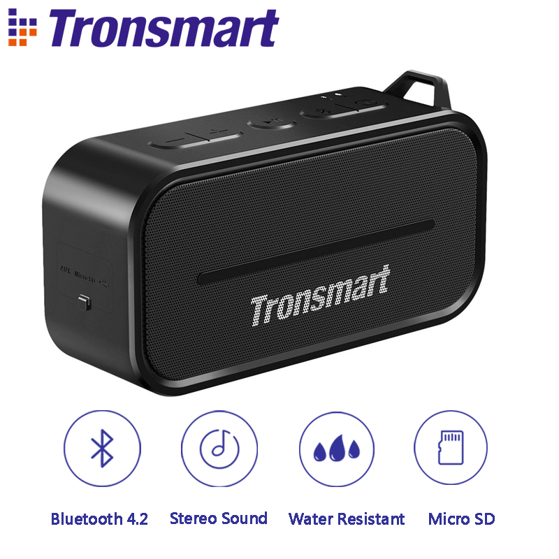 Original Tronsmart Element T2 Bluetooth 4.2 Outdoor Water Resistant Speaker Portable Mini Speaker for IOS Android Xiaomi Phones tronsmart element t6 mini bluetooth speaker portable wireless speaker with 360 degree stereo sound for ios android xiaomi player