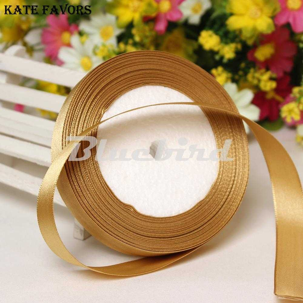 "Gold 3/8"" 10mm Wide Wedding Craft Satin Ribbon Sold Per Packet Of 1 Roll(25 Yards)  DIY Decorations Accessory Wedding Decoration"