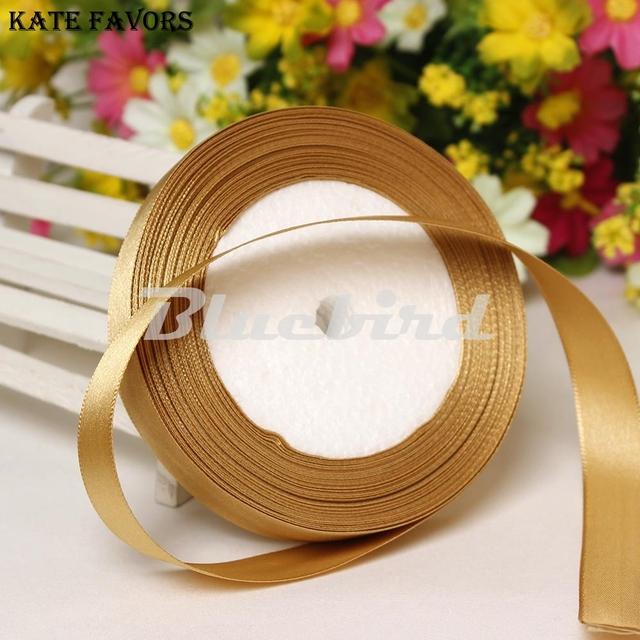 """Gold 3/8"""" 10mm Wide Wedding Craft Satin Ribbon Sold Per Packet Of 1 Roll(25 Yards)  DIY Decorations Accessory Wedding Decoration"""