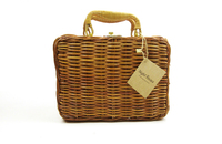 Ancient Suitcase Cosmetic Straw Rattan Box Basket Women Straw Bamboo Bag Cosmetic Case Tote Women Cosmetic