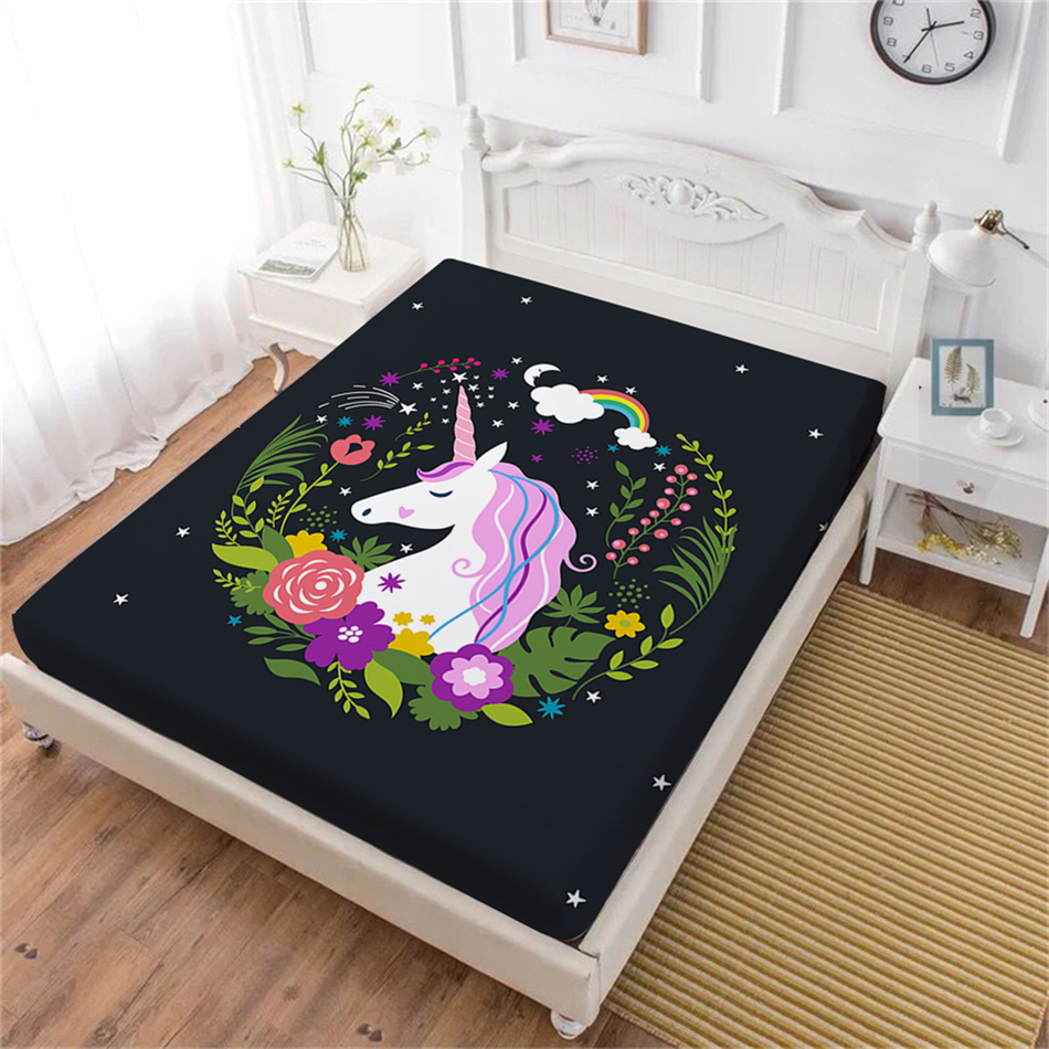 Girls Cartoon Bed Sheet Mermaid Fish Fitted Sheet Ocean Animal Bedding King Queen Mattress Cover Deep Pocket Home Decor D25 Home Textile