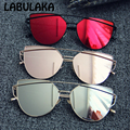 Red cat eye óculos escuros de grife marca mulheres double-deck estrutura metálica plana do vintage espelho óculos de sol shades gafas de uv400 óculos de sol