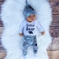 Bebé Ropa de Bebé Recién Nacido Conjunto Trajes Otoño Letra de Los Niños impresión de Manga Larga Romper Pant Boy Set 2016 de La Moda Infantil ropa