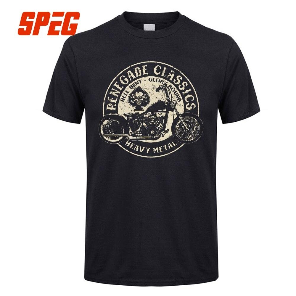 Vintage Gloire Limites Moto USA T-Shirt Heavy Metal Hommes T Shirt Col O Moteur Tops À Manches Courtes 100% Coton Rétro t-shirts Homme