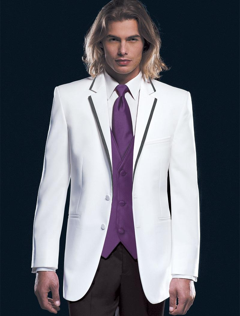 Latest Coat Pant Designs White Trim Formal Wedding Suits For Men Custom Groom 3 Pieces Slim Fit Tuxedo Jacket+Vest+Pants 282