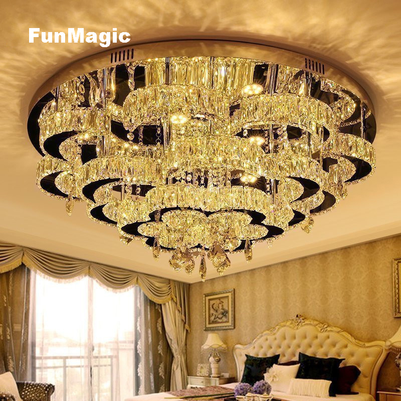 Luxury Romantic Crystal Flower LED Ceiling Light Living Room Dining Room Diamond Crystal Lighting Bedroom Fixture Lamp Dimming