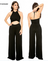 Sexy Black Halter Backless Patchwork Bustier Bandage Jumpsuits Rompers Loose Hollow Out Playsuits Summer Crop Top