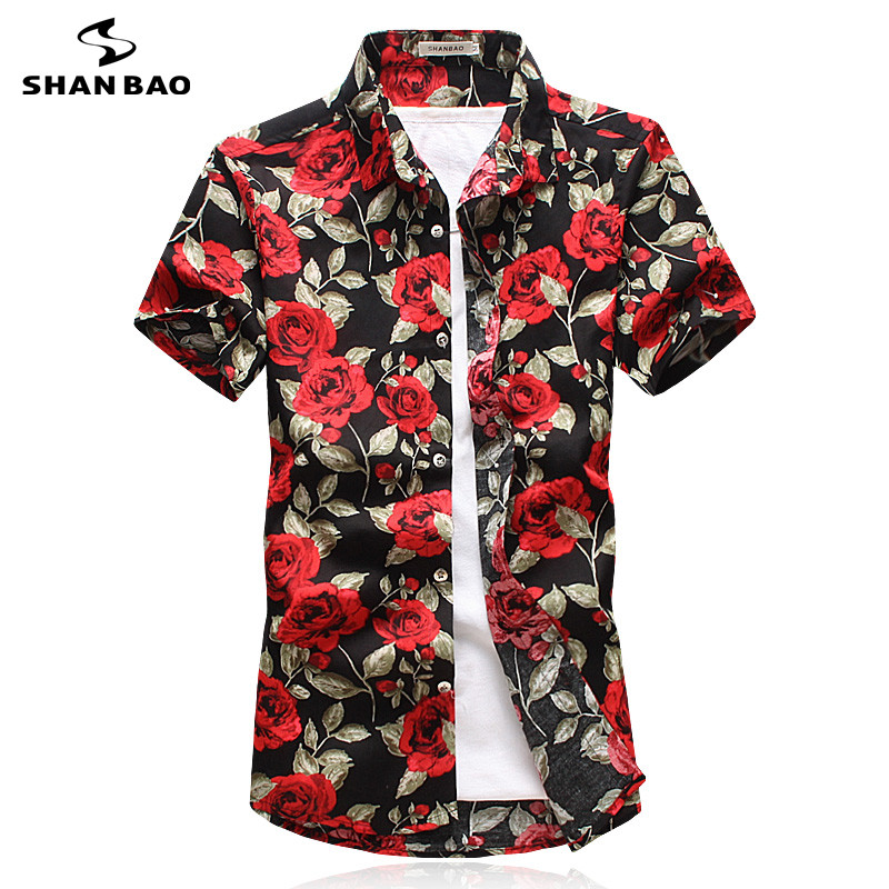 SHAN BAO Brand Clothing Hawaiian Style Short Sleeve Shirt 2017 Summer Fashion Rose Print Men's Casual Shirt White Black Blue