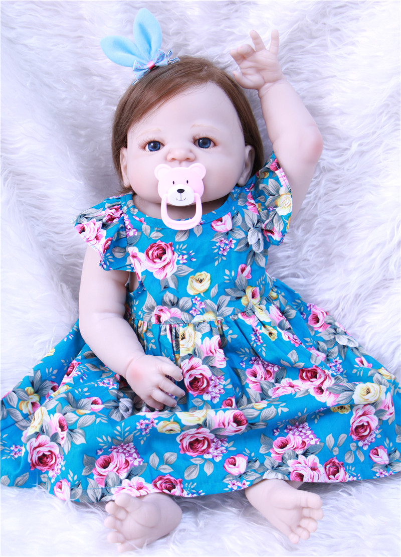Bebe Reborn 22 inch 55cm full Silicone Reborn Baby Dolls Alive Lifelike Dolls with blue dress Realistic Babies Girl Toys new style girl dolls full silicone reborn dolls with beautiful dress adora dolls bebe reborn de silicone menica