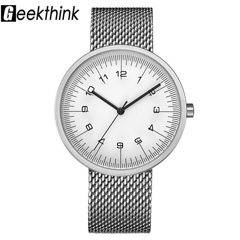 Geekthink Top marca de moda reloj de cuarzo reloj de plata casual Japón wrsitwatch acero inoxidable de malla de banda reloj de regalo femenino